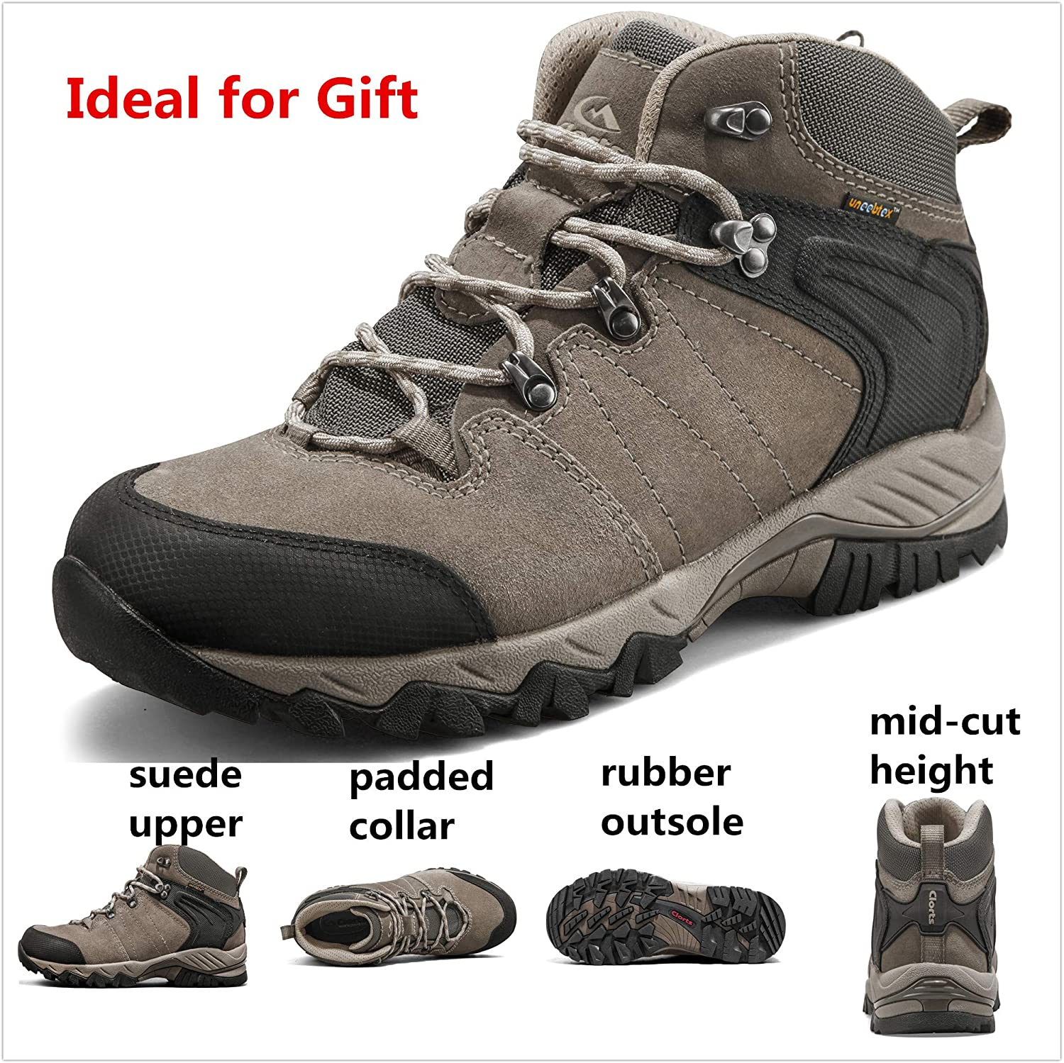 Clorts Womens Hiking Boots Waterproof Lightweight Hiker Leather Hiking Shoes Outdoor Backpacking Trekking Trail