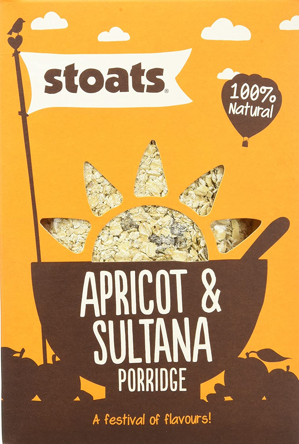 Stoats Apricot and Sultana Porridge 550 g (Pack of 6)