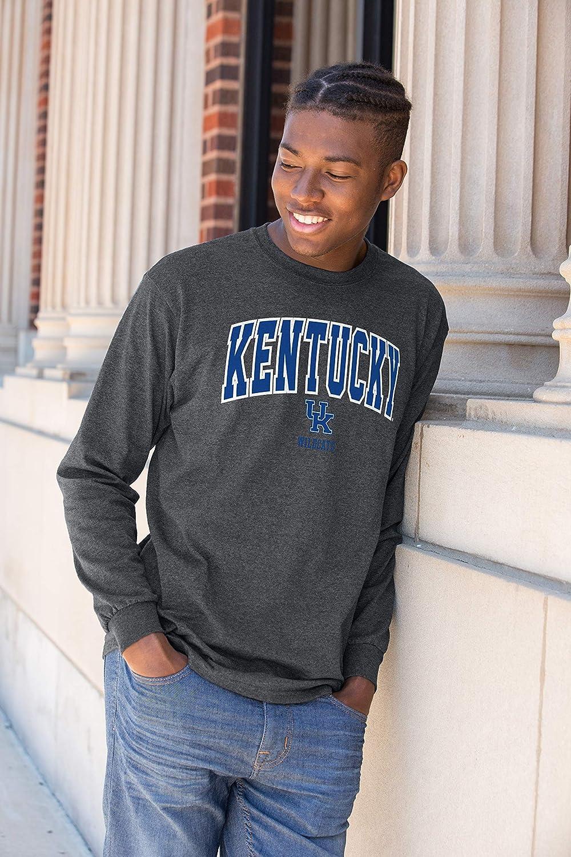 X Large Dark Heather Elite Fan Kentucky Wildcats Mens Long Sleeve Arch Tee Shirt