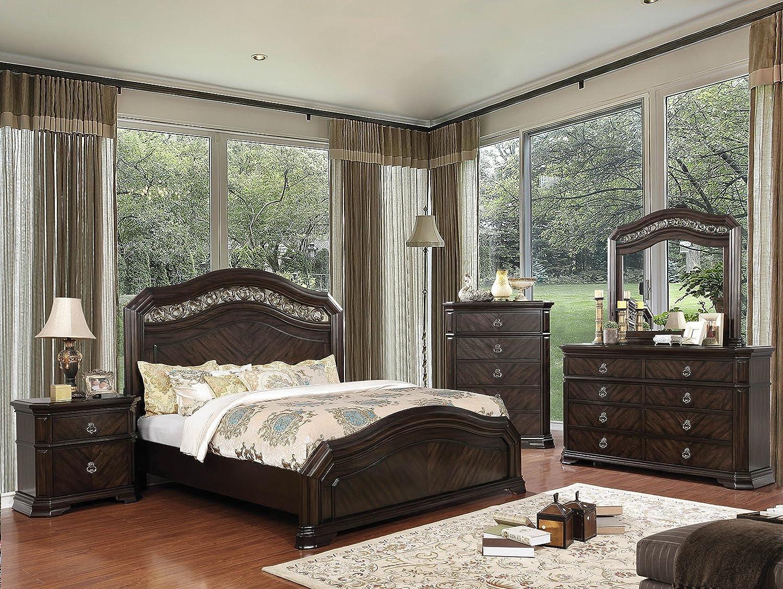 Amazon com calliope bedroom furniture rich espresso finish camel back design queen size bed 4pc set dresser mirror nightstand classic intricate wooden hb