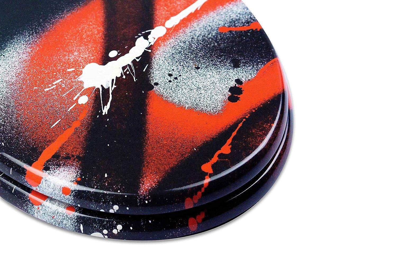 Tohaa Design Abattant WC en Bois Laqu/é Fixation Universelle Haut De Gamme Charni/ères Inoxydables avec Double Frein de Chute Softclose Mod/èle Graff Sign/é par l/'artiste Blazer Clipsable