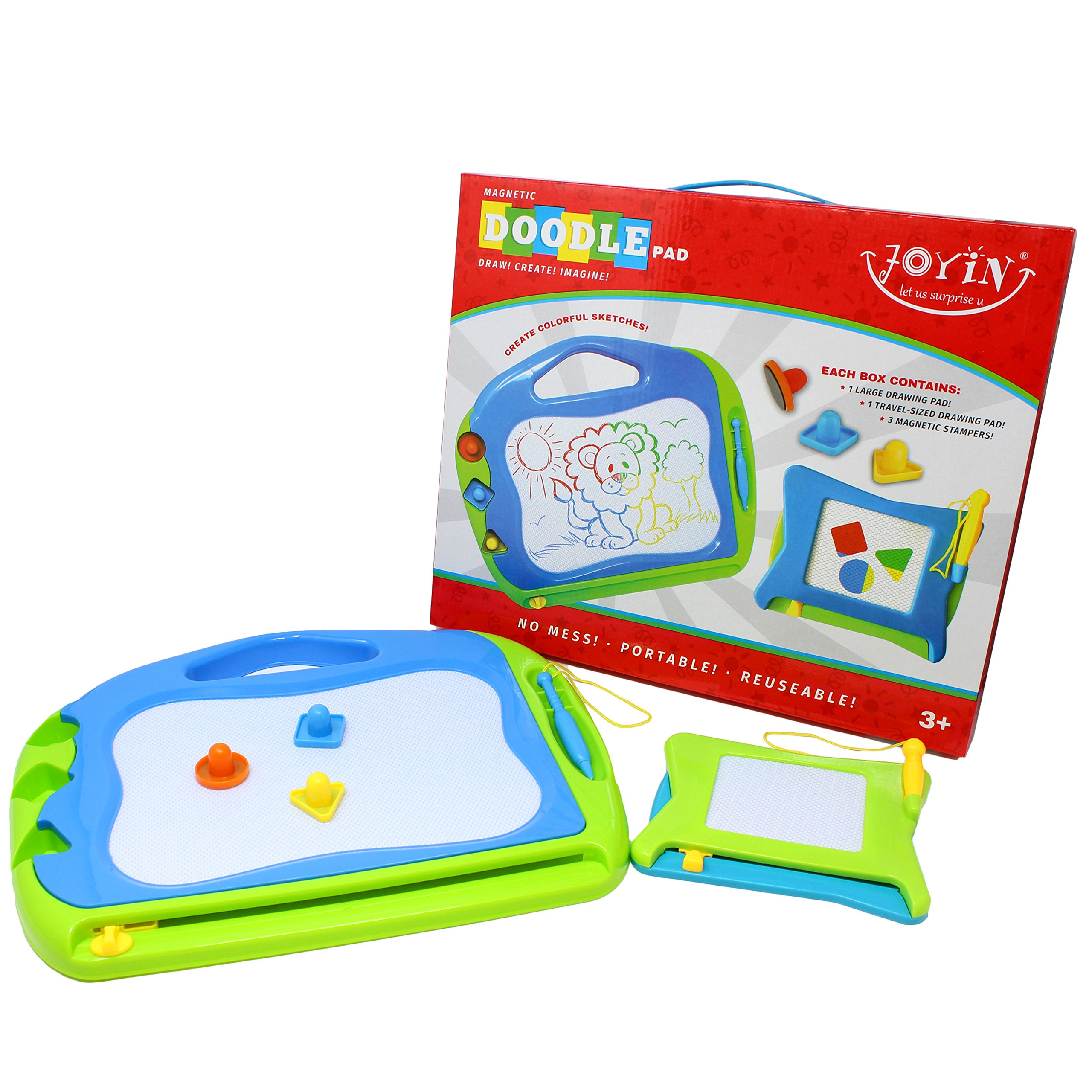 JOYIN 2 Magnetic Drawing Boards with Multi-Colors Drawing Screens Erasable Doodle Sketch Magna Board for Writing, Sketching, Travel Size Gaming Pad, Educational Learning and Classroom Prizes. by JOYIN (Image #4)