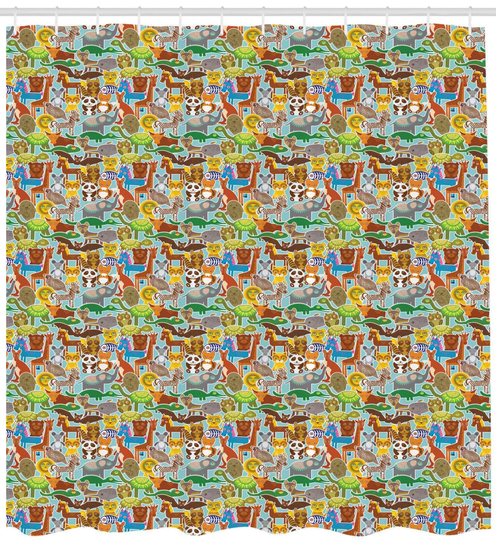 Planta Tropical Cascada ABAKUHAUS Ex/ótico Cortina de Ba/ño Estampa Moderna sobre Tela Resistente al Agua F/ácil Limpieza 175 x 180 cm Forrest Verde Azul P/álido