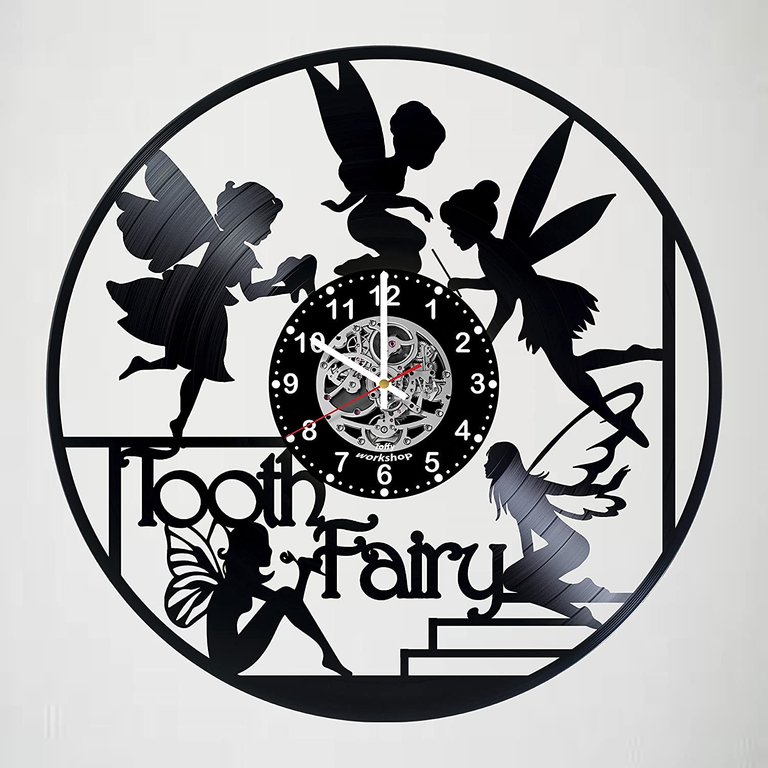 Cute Tooth Fairy Decor Vinyl Record Wall Clock - Exciting kidsroom decor - perfect gift idea for children, girls, adults, men and women - Unique Art Design!