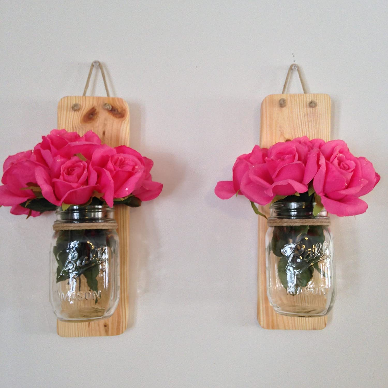 amazoncom set of two handmade rustic mason jar wall sconce light natural stain handmade