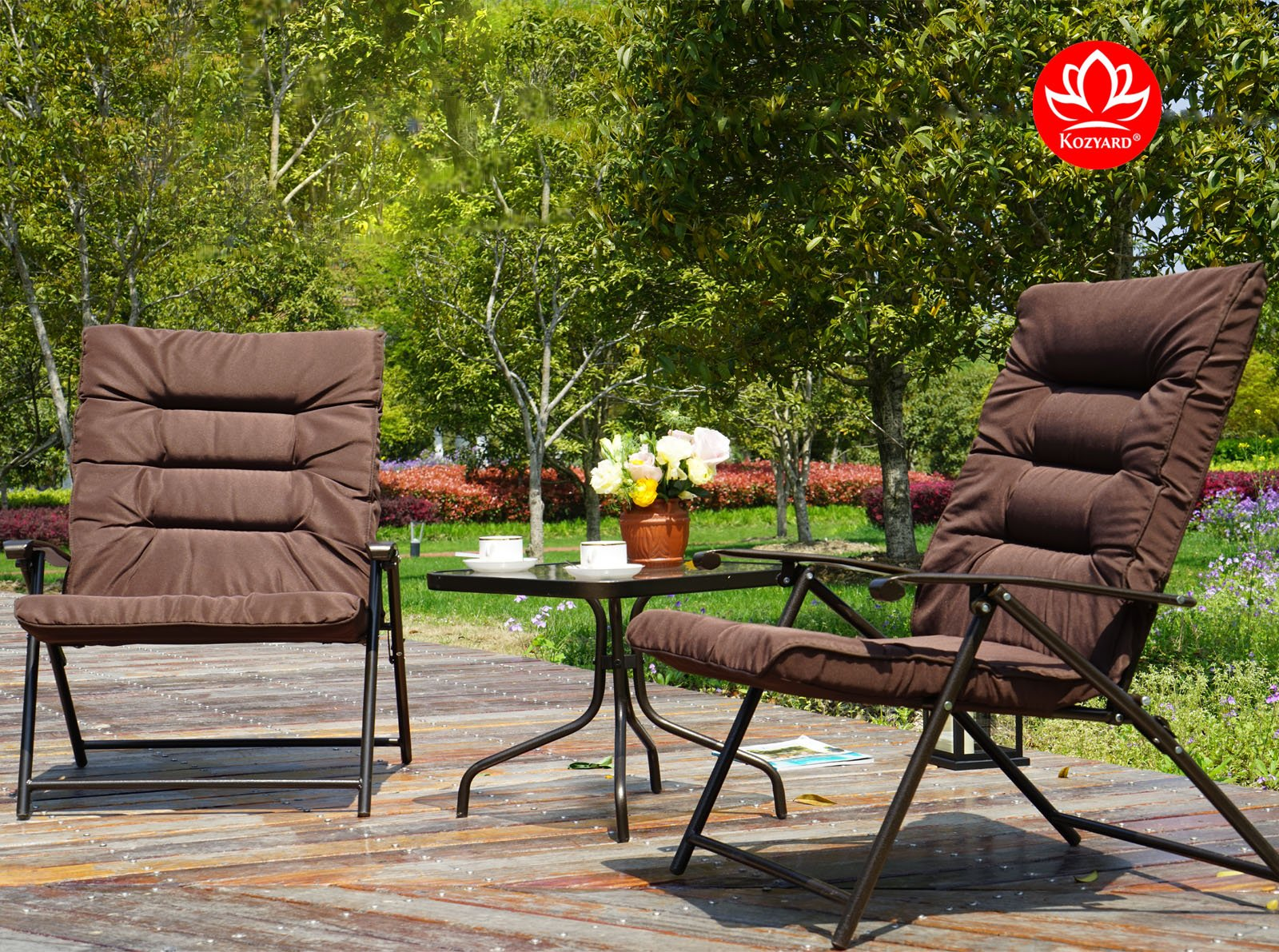 Kozyard Elsa 3 Pieces Outdoor Patio Furniture Padded Folding Sets for Yard, Patio, Deck or Backyard by Kozyard (Image #7)