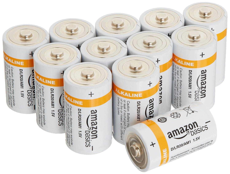 AmazonBasics D Cell Everyday Alkaline Batteries (12-Pack)