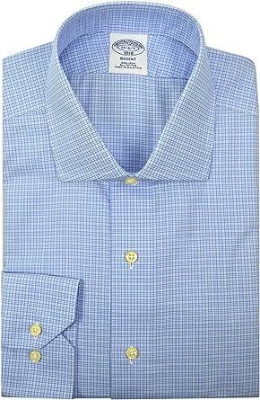 BROOKS BROTHERS Regent Fit - Camisa de Vestir para Hombre, diseño de Cuadros, Color Azul Claro