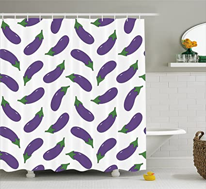 Ambesonne Eggplant Shower Curtain Yummy And Funny Eggplants Kid Friendly Drawing Nutritious Meals Vegan Natural