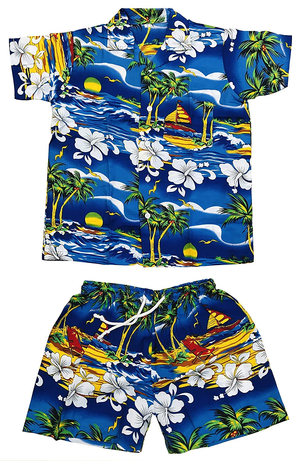 CLUB CUBANA Kids Boys Girls Childrens Slim Fit Classic Short Sleeve Casual Floral Hawaiian Shirts and Shorts Set