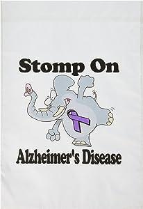 3dRose Fl_114476_1 Elephant Stomp on Alzheimer's Disease Awareness Ribbon Cause Design Garden Flag, 12 by 18-Inch
