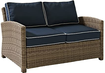 Awesome Crosley Furniture Bradenton Outdoor Wicker Loveseat With Cushions Navy Cjindustries Chair Design For Home Cjindustriesco