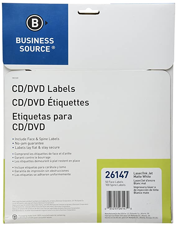 Business Source CD/DVD Labels for Laser and Inkjet Printers - Pack of 50