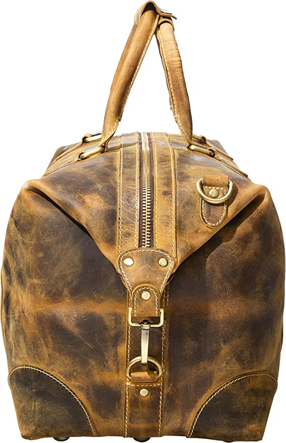Viosi Genuine Leather Travel Duffel Bag Oversized Weekend Luggage Buffalo Leather Duffle Bag For Men Women Sports Gym Overnight Carry On Bag Great Gift Idea 21