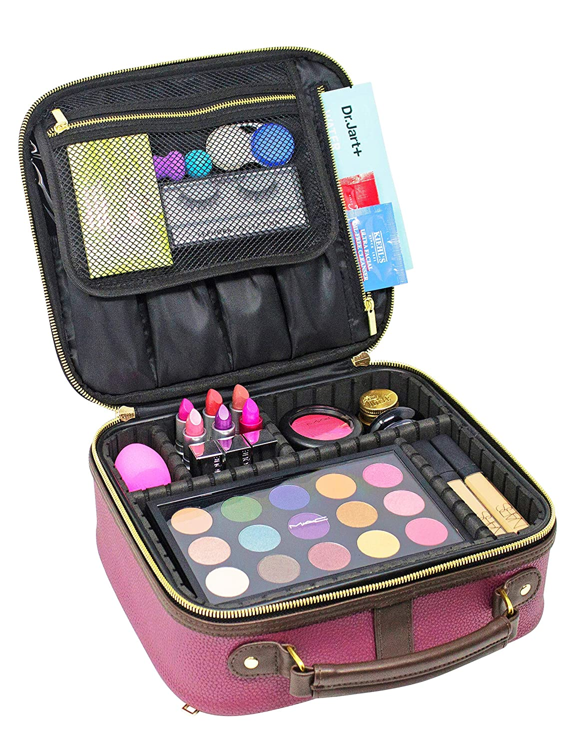 9210efc18d4 Waterproof Makeup Bag and Train Case with Adjustable Dividers, Cosmetic  Case Organizer with Large Brush