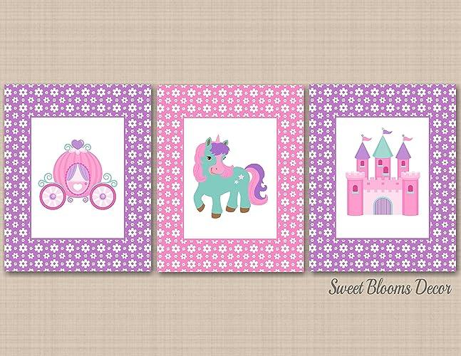 unicorn princess wall artpretty princess wall decorpink purple teal princess room decor