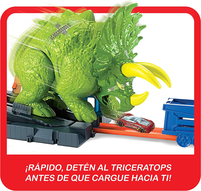 Hot Wheels City Global Nemesis TV, Dinosaurio Triceratops y ...