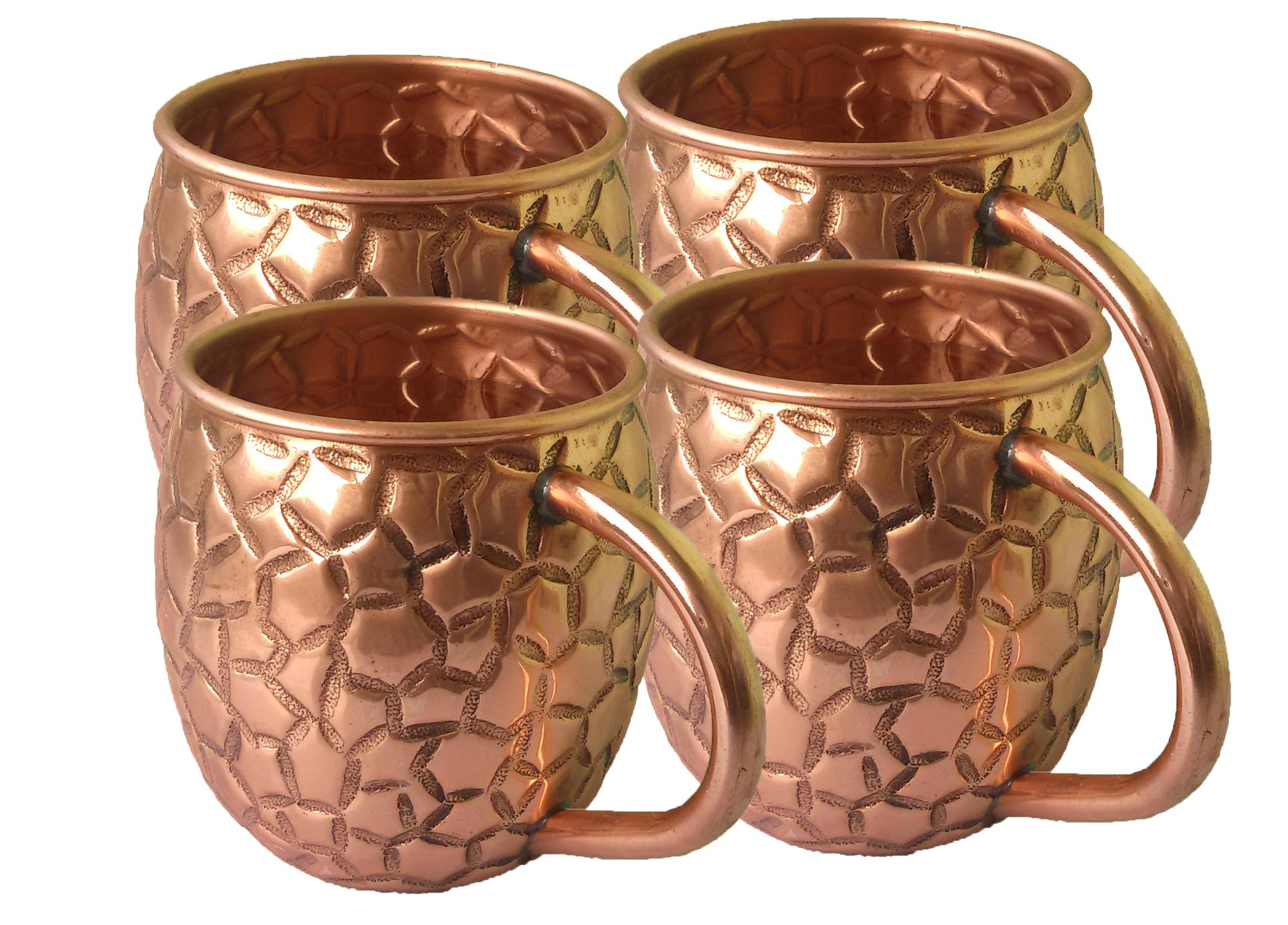 STREET CRAFT Copper Moscow Mule Mugs Capacity 16 Oz Authentic Moscow Mule Mugs, Hand Embossed with Beautifully Diamond Hammered Design and No Inner Lining Set of 4
