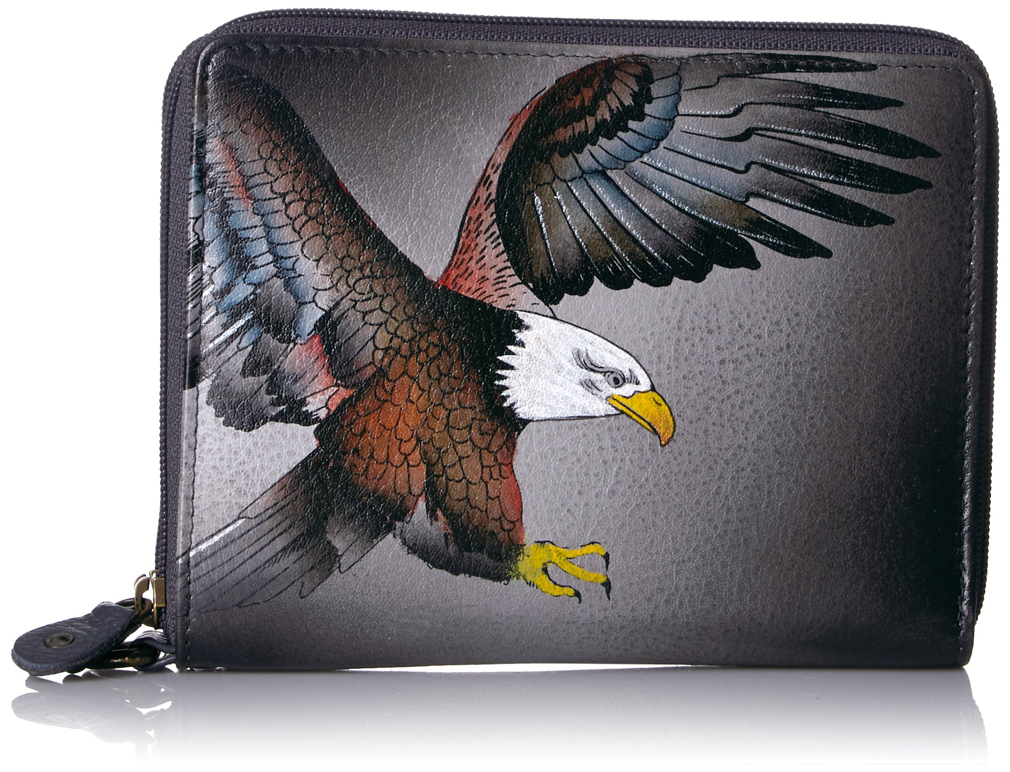 Anuschka Handpainted Leather Zip-around Organiser Wallet-american Eagle Wallet, American Eagle, One Size