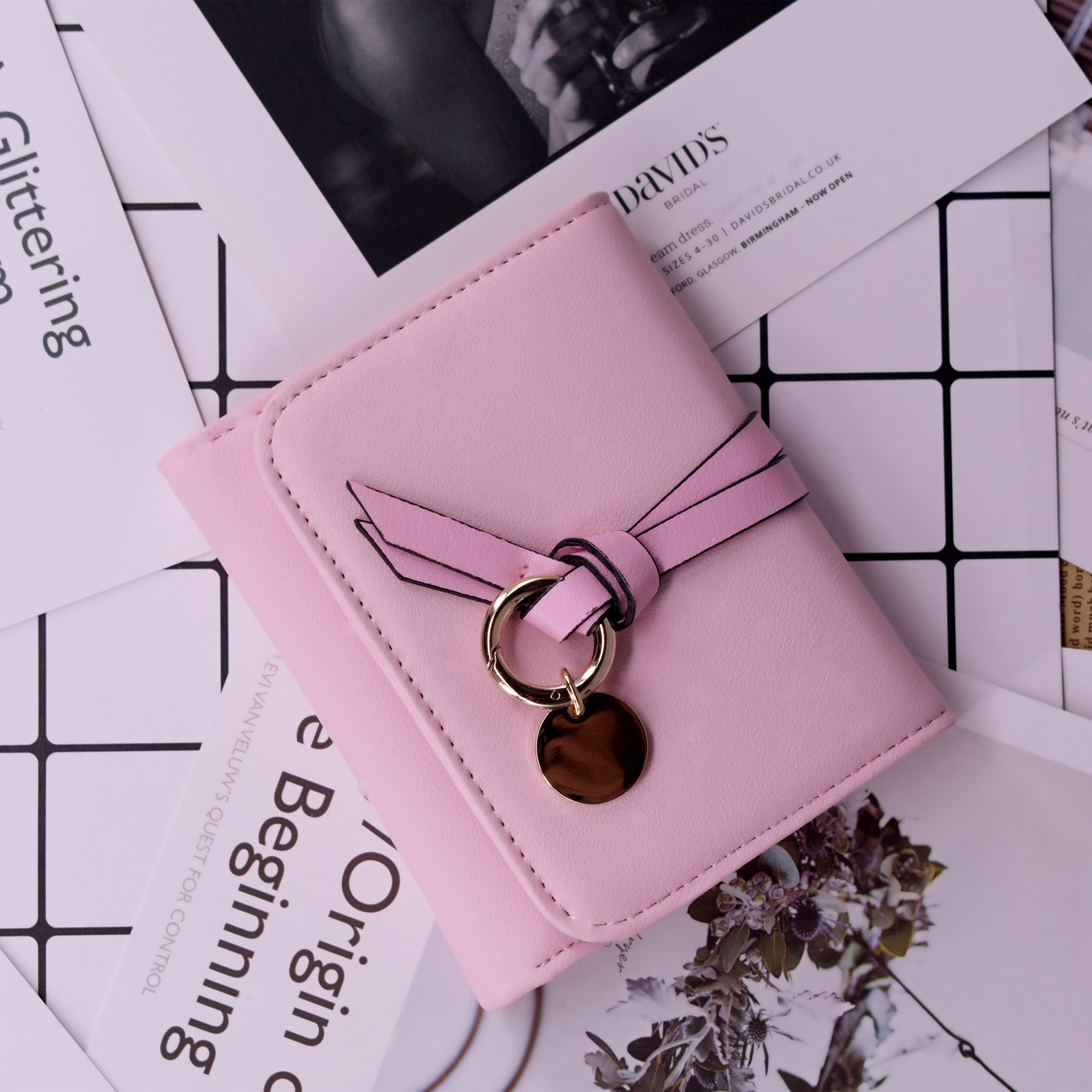 ABC STORY Womens Cute Pink Purse Card Holder Small Trifold Wallets For Teen Girls by ABC STORY (Image #4)