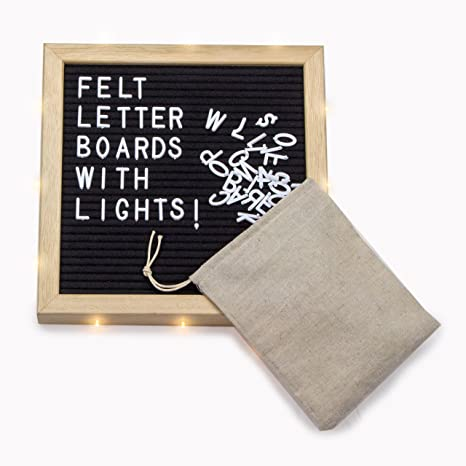 Amazon Com Changeable Felt Letter Board W Lights 10x10 Inch Oak
