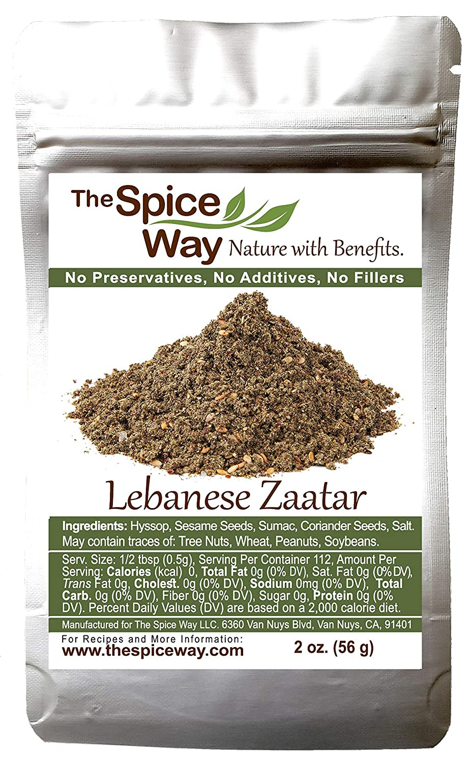 The Spice Way - Traditional Lebanese Zaatar with Hyssop | 2 oz | (No Thyme that is used as an hyssop substitute) Freshly Grown Seasoning. No Additives, No Perservatives (Za'atar/zatar/zahtar/zahatar)