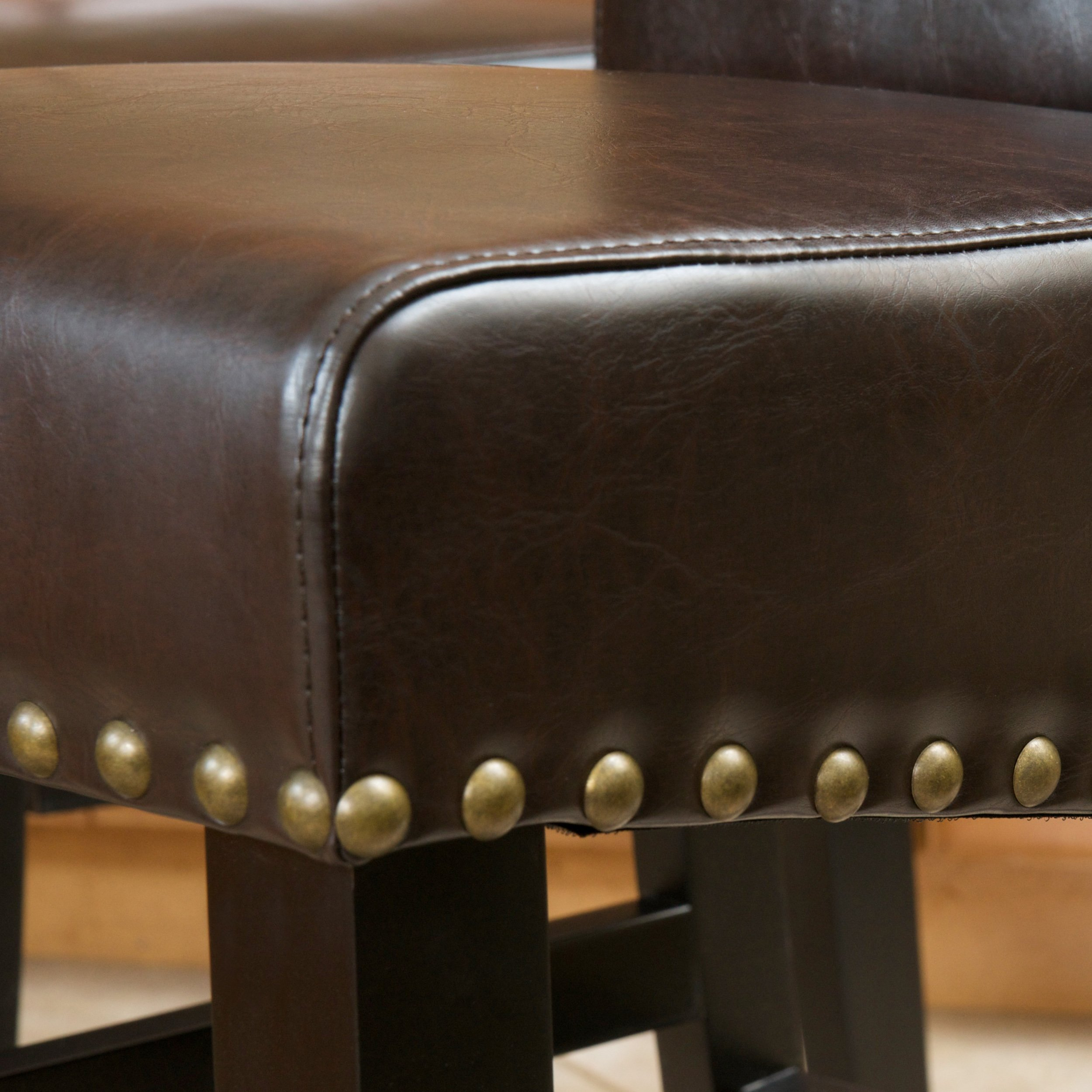 Clifton Brown Leather Counter Stools w/ Brass Nailheads (Set of 2)