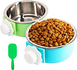 2 Pack Crate Dog Bowl, Removable & Stainless Steel Kennel Water Bowl Hanging Pet Cage Bowl Food and Water Feeder Coop Cup with Spoon for Puppy Medium Dogs Birds Ferret Cat