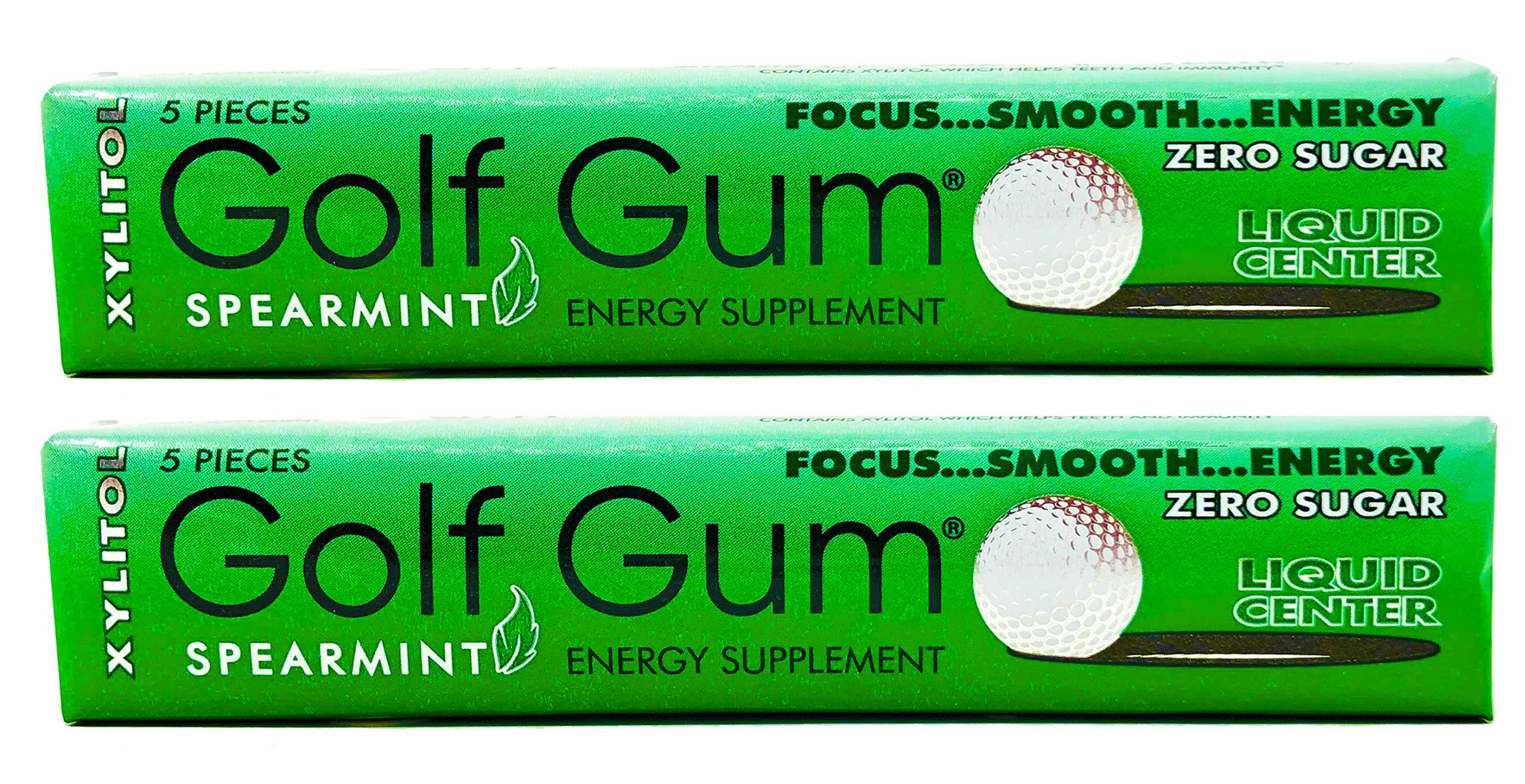 Golf Gum - The Golfers Gum - Liquid Core Xylitol Gum - Sugar-Free, Aspartame-Free, Caffeinated Gum - Spearmint - 5 Pieces of Gum Per Pack (2 Pack) by Golf Gum