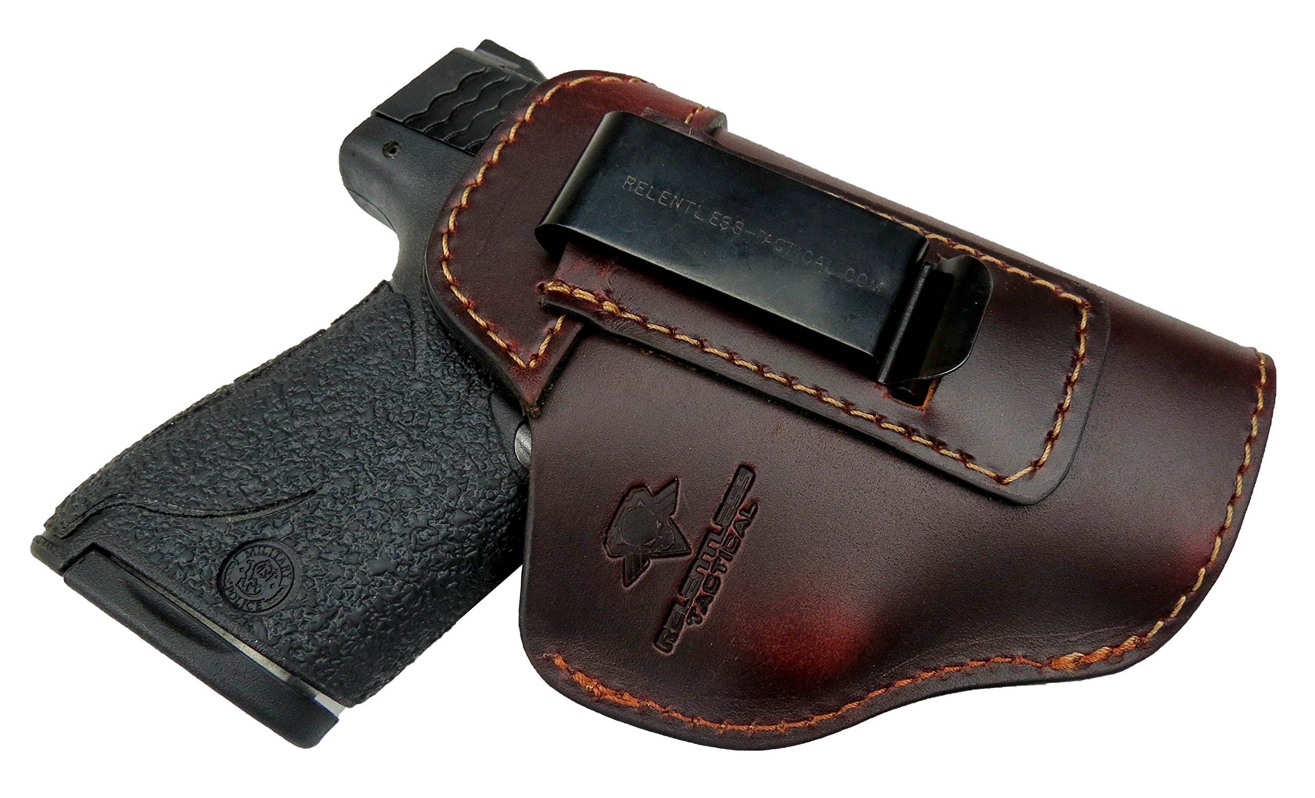 Relentless Tactical The Defender Leather IWB Holster - Made in USA - For S&W M&P Shield - GLOCK 17 19 22 23 32 33/Springfield XD & XDS/Plus All Similar Sized Handguns – Brown – Right Handed