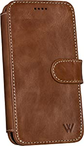 Wilken iPhone Xs Max Leather Wallet with Detachable Phone Case | Wireless Charging Compatible | Top Grain Genuine Leather | (Brown, XS Max)