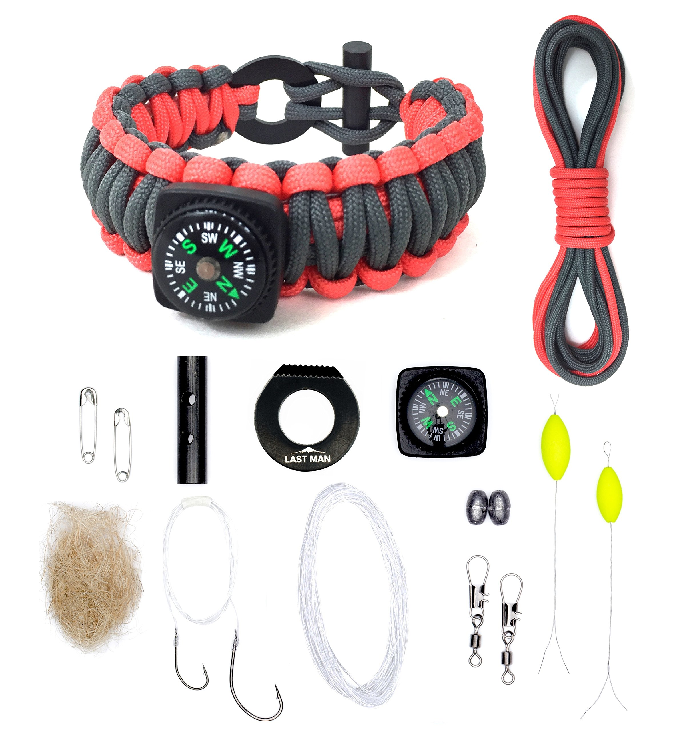 The Ultimate Paracord Survival Kit Bracelet (Small, Gunmetal + Orange with Compass)