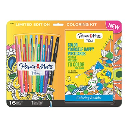 Color Paper Mate Flair Felt Tip Pens Medium Point Assorted Colors With Positive Postcards Adult