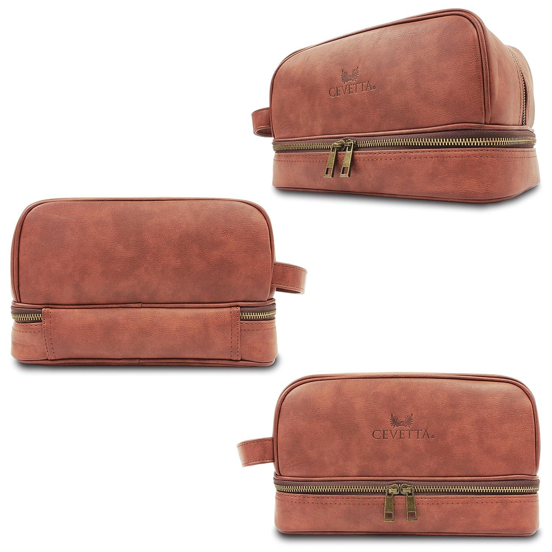 Cevetta Leather Toiletry Bag For Men Dopp Kit with free Travel Bottles