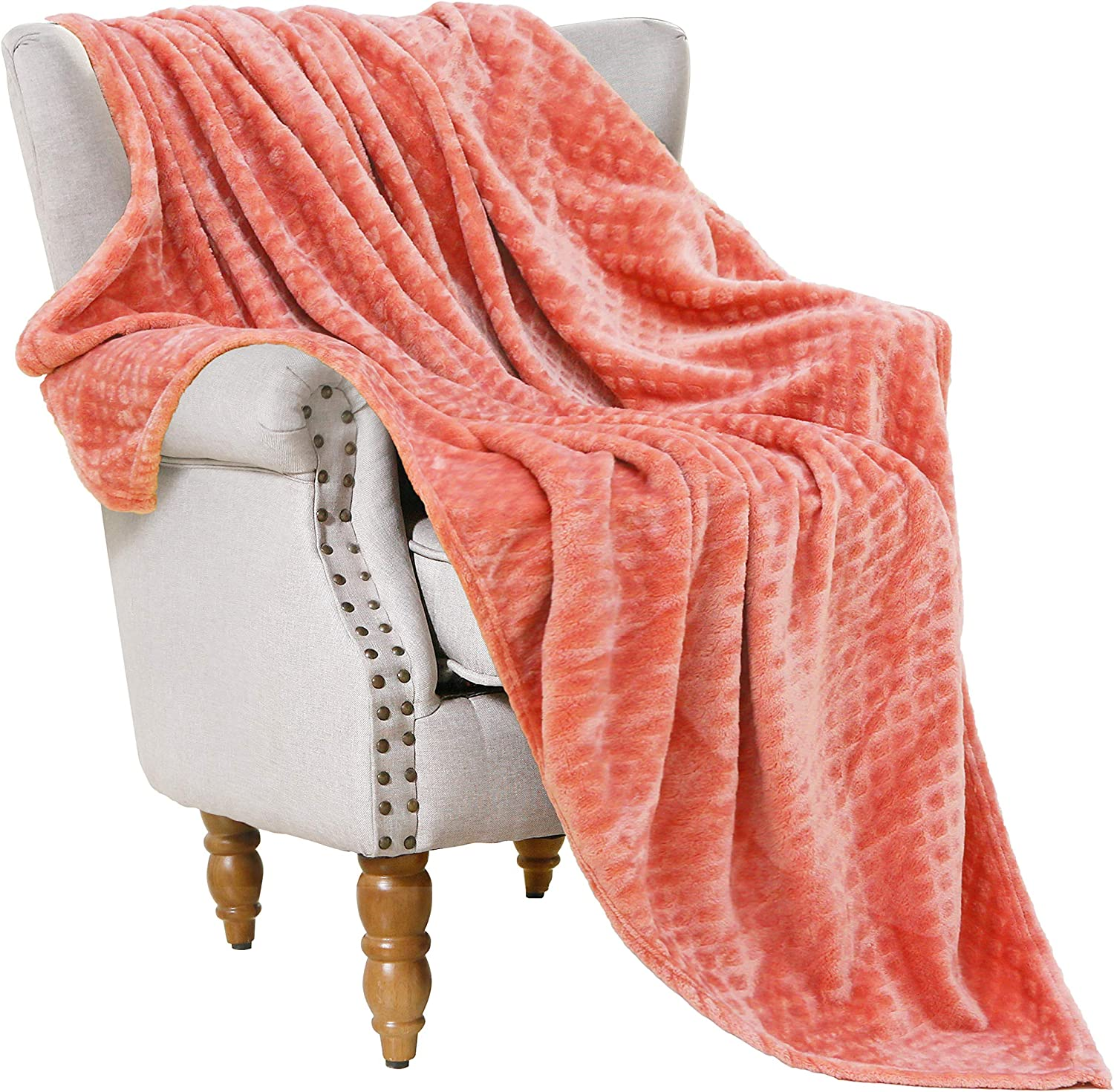 "Flannel Fleece Throw Blankets (Coral, 50"" x 70"")-Soft, Warm and Lightweight"