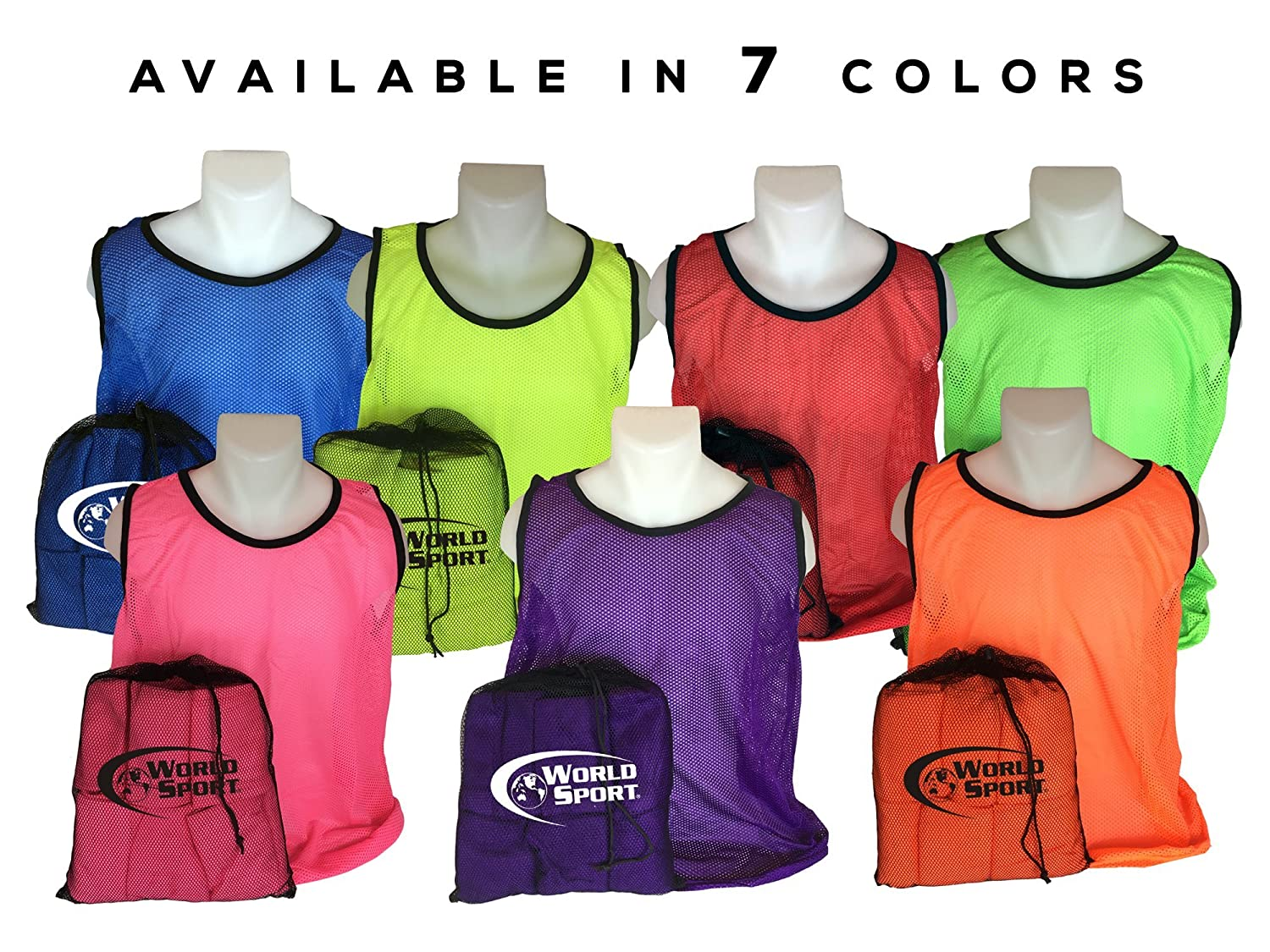 World Sport 12 Pack Adult Green Scrimmage Vests with Carry Bag AGV12B