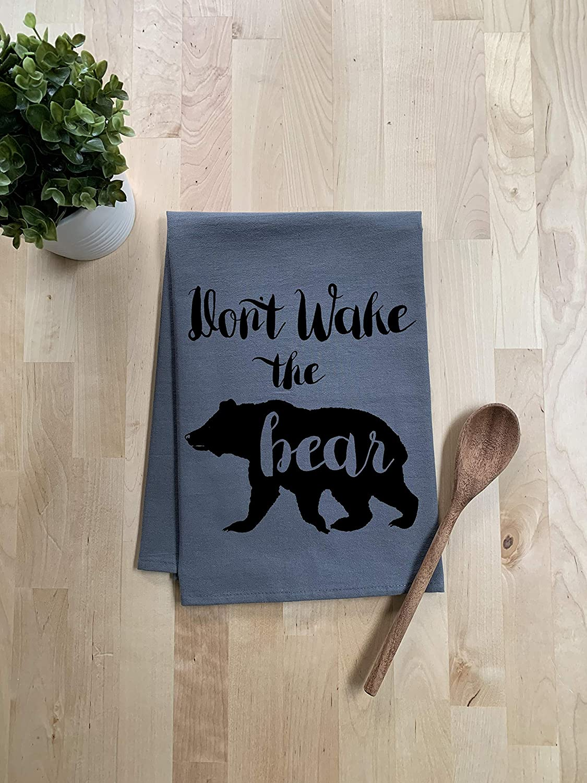 Sweet Dishcloth//Tea Towel ~ Dont Wake The Bear ~ Funny Kitchen Cloth ~ Gray