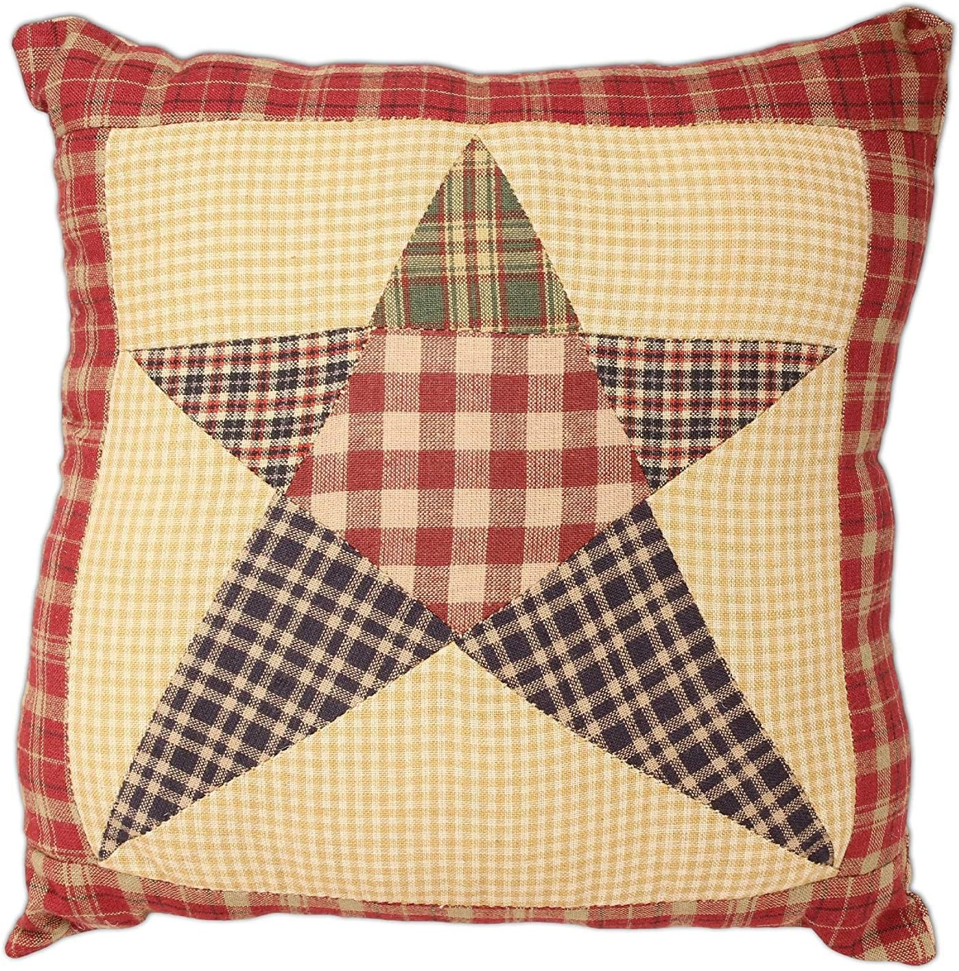 New Farmhouse Red Check BURGUNDY STAR Patchwork Quilt Bedding Pillows YOU CHOOSE