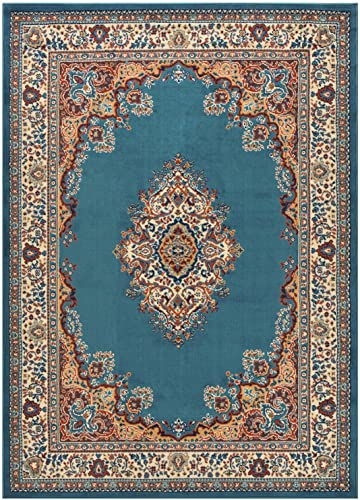 Medallion Traditional Oriental Persian Design Area Rug Rugs Petrol Blue, 4 11 x 6 11
