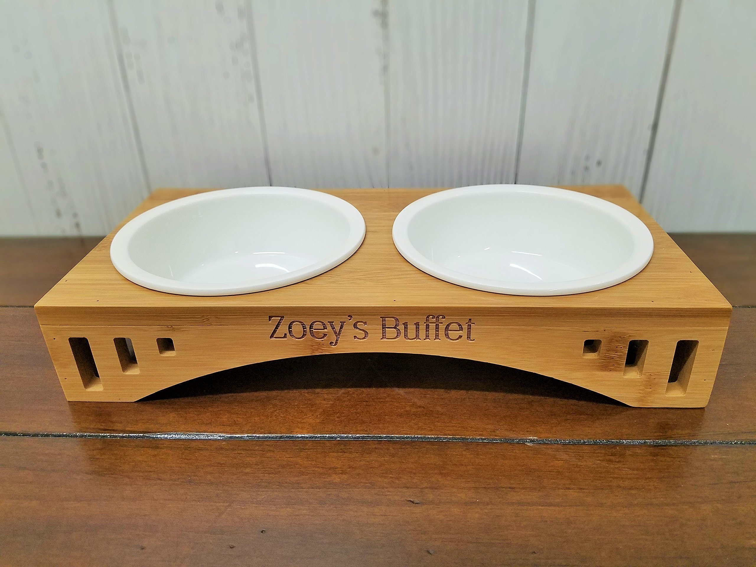 Personalized Elevated Pet Feeder Stand with Two Bowls - Engraved Bamboo Wood - Dog or Cat Food Station