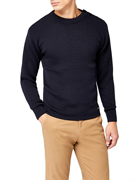 sleek no sale tax new lower prices Armor Lux - Crew-Neck Sweaters - Men - Fouesnant Navy Blue Wool Sweater for  Men