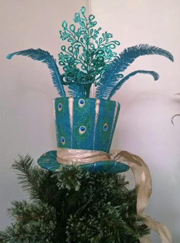 top hat tree topper large peacock tree topper christmas tree topper peacock top - Best Christmas Tree Topper