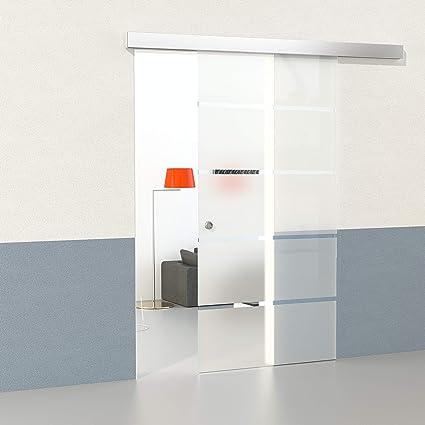 DURADOOR Juego de cristal de seguridad en 5 de puerta corredera de cristal rayas diseño 2050