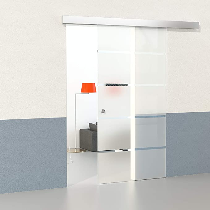 DURADOOR Juego de cristal de seguridad en 5 de puerta corredera de cristal rayas diseño 2050 mmx900 mm Puerta Corredera de Cristal sobre ruedas Puerta ...