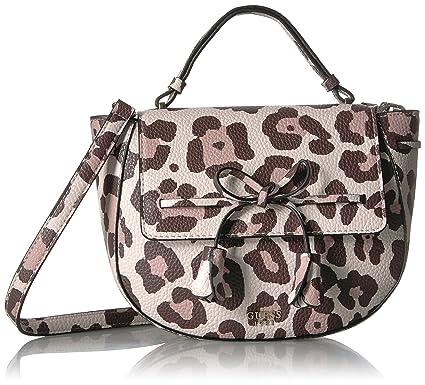 GUESS Leila Leopard Top Handle Flap: Handbags: