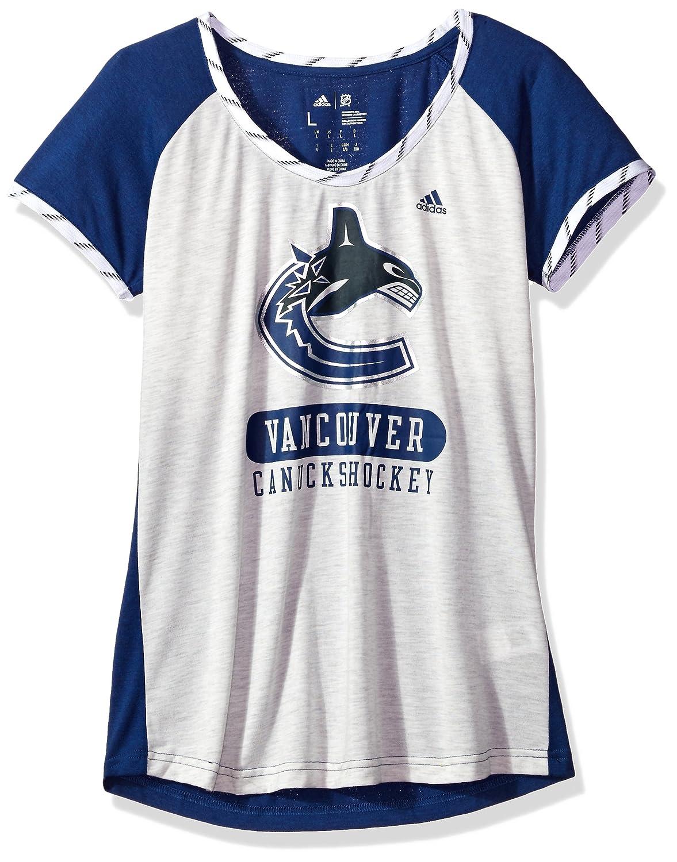 Adidas NHLレディーススケートレースS/S Tee B074TZDMB1 Medium|White Heathered|Vancouver Canucks White Heathered Medium
