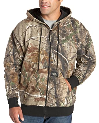 Dickies Mens Signature Thermal Lined Hooded Fleece Camouflage Jacket, Realtree All Purpose HD, XX