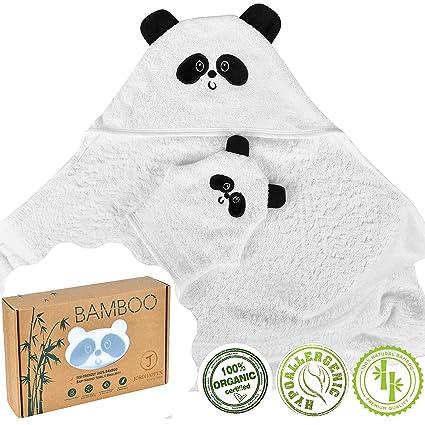 Toalla Bebé Con Capucha y Guante Capa de Baño Infantil 100% Bambú Grande Extra Suave Super Absorbente Regalo Para Bebés Recién Nacido de 0-4 ...