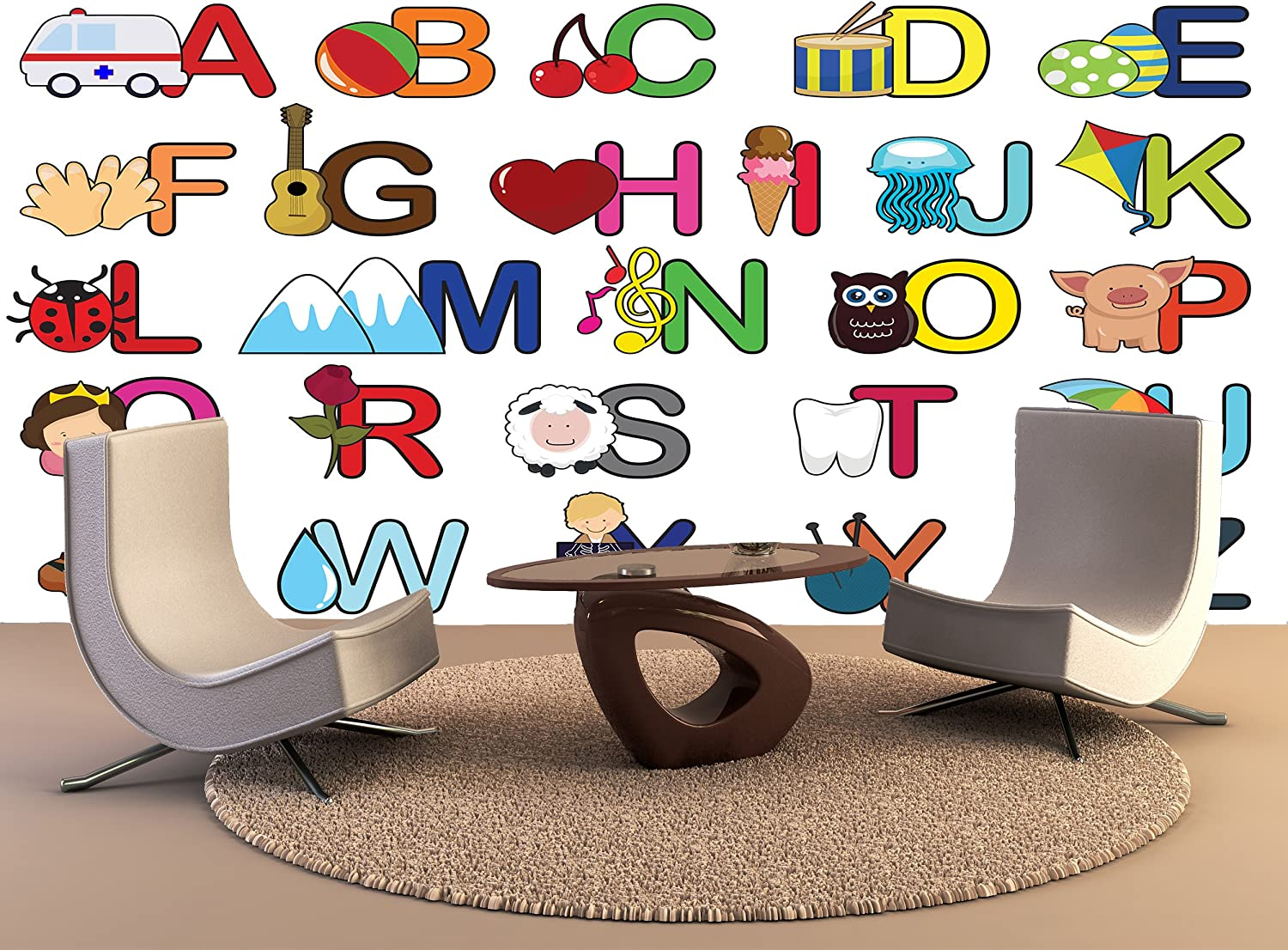 Amazon Com Photo Wall Mural Alphabet Letters Kids Learning Wall Art Decor Photo Wallpaper Poster Print Home Kitchen