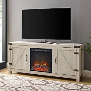 Walker Edison Georgetown Modern Farmhouse Double Barn Door Fireplace TV Stand for TVs up to 65 Inches, 58 Inch, Stone Grey